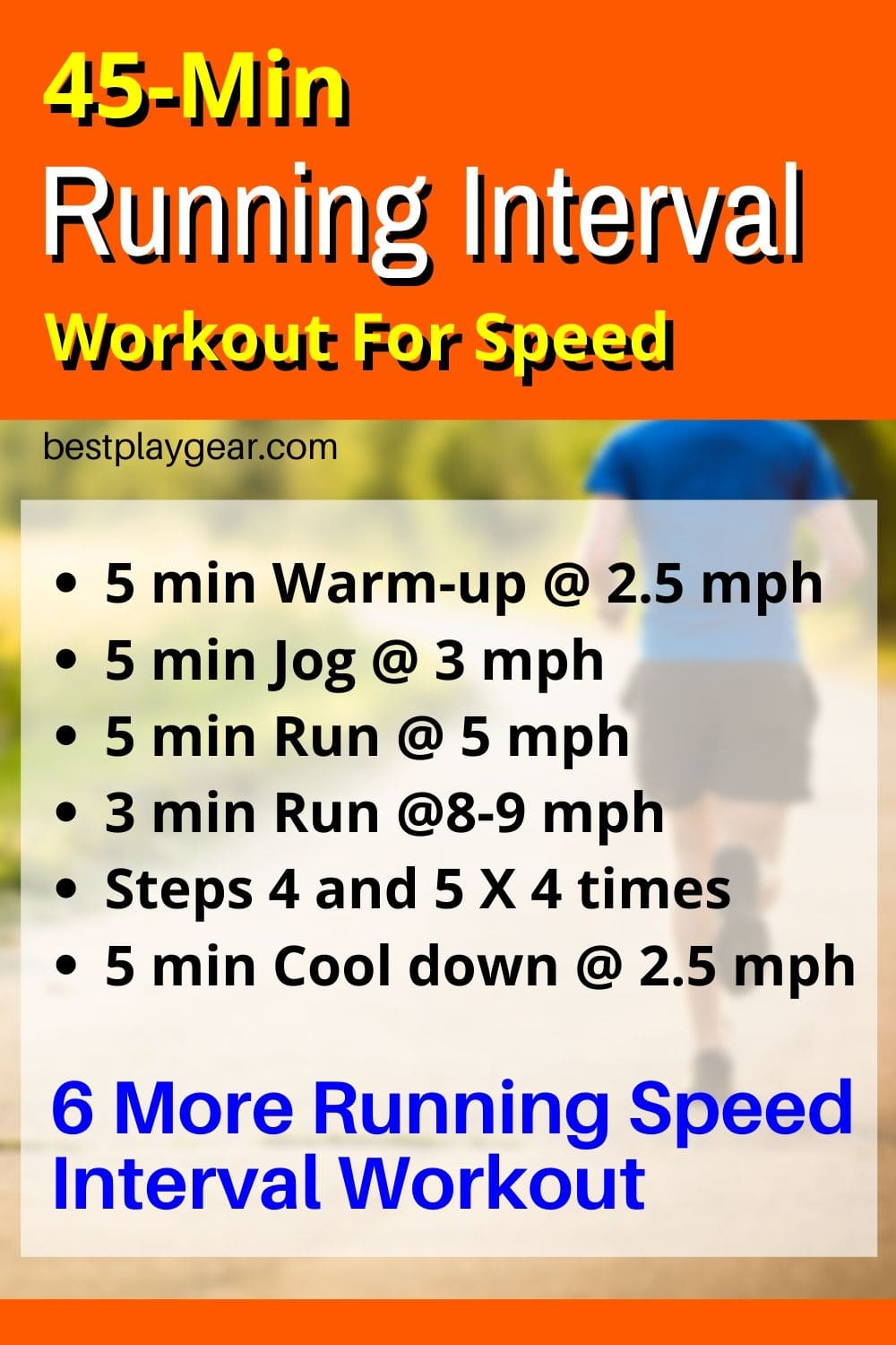45-min Running interval workout for runners at any level. This is an outdoor running workout and doesn't use treadmill intervals. Have a cardio blast using this running interval training.