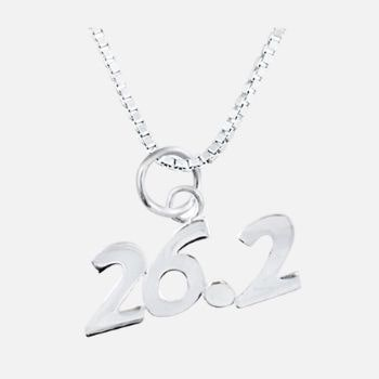 Gone For a Run Sterling Silver 26.2 Marathon Necklace