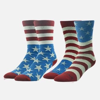 Ristake Mens Flag Dress Novelty Cotton Crew Moisture Wicking Socks