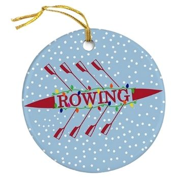 Rowing Silhouette with Christmas Lights Ornament